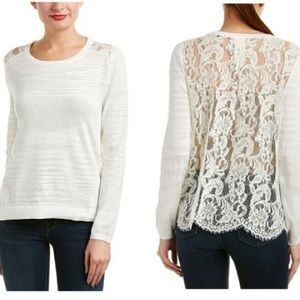 Cabi Sophia Lace Long Sleeve Blouse 5005 Size M